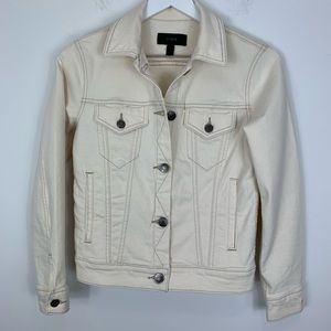 J. CREW off white denim jacket silver buttons